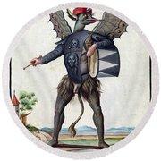 Asmodeus, King Of Demons, 18th Century Round Beach Towel