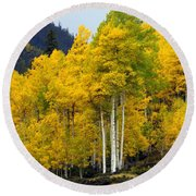 Aspen Fall 3 Round Beach Towel