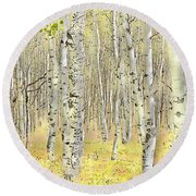 Aspen Forest 2 - Photo Painting Round Beach Towel