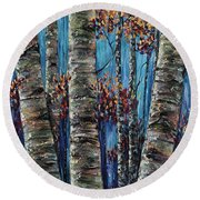 Aspen Forest In The Rocky Mountain Round Beach Towel