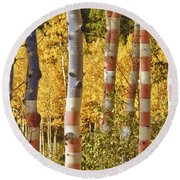 Aspen Gold Red White And Blue Round Beach Towel
