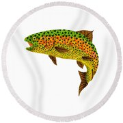 Aspen Leaf Rainbow Trout 1 Round Beach Towel