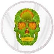 Aspen Leaf Skull 10 Round Beach Towel