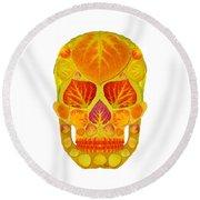 Aspen Leaf Skull 13 Round Beach Towel