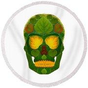 Aspen Leaf Skull 9 Round Beach Towel