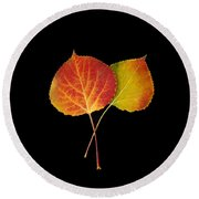Aspen Leaves Round Beach Towel