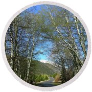 Aspen Lined Road Round Beach Towel