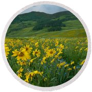 Aspen Sunflower And Mountain Landscape Round Beach Towel