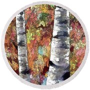 Aspen Trees  Round Beach Towel