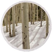 Aspens In Winter 2 Panorama - Santa Fe National Forest New Mexico Round Beach Towel