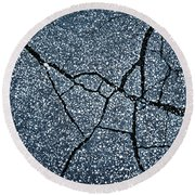 Asphalt Pavement With Cracks On The Surface Round Beach Towel