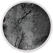Asphalt-water-tree Abstract Refection 03 Round Beach Towel