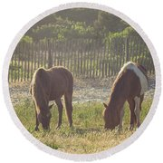 Assateague Island Wild Ponies Round Beach Towel