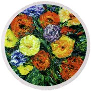 Assorted Flowers #191 Round Beach Towel