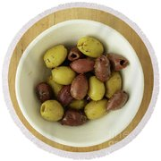 Assorted Greek Olives  Round Beach Towel