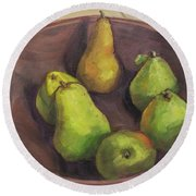 Assorted Pears Round Beach Towel