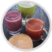 Assorted Smoothies Round Beach Towel