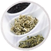 Assortment Of Dry Tea Leaves In Spoons Round Beach Towel