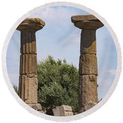 Assos Temple Of Athena Columns Round Beach Towel