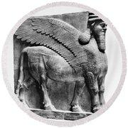 Assyria: Bull Scultpure Round Beach Towel