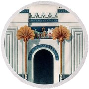 Assyrian Temple Round Beach Towel