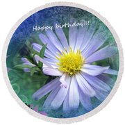 Aster ,  Greeting Card Round Beach Towel