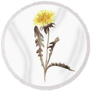 Asters Flowers, Abstract Flower Yellow Wall Decor, Dandelion Watercolor Painting Round Beach Towel