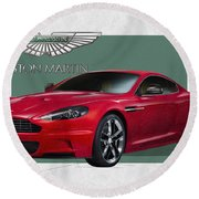 Aston Martin  D B S  V 12  With 3 D Badge  Round Beach Towel by Serge Averbukh
