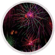Astonishing Fireworks Round Beach Towel