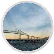 Astoria Megler Bridge By Riverwalk Panorama Round Beach Towel