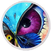 Astral Butterfly. Soul - Memory - Mind Round Beach Towel