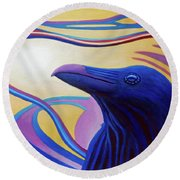 Astral Raven Round Beach Towel