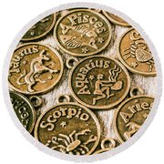 Astrology Charms Round Beach Towel