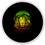 Astronaut Lion Colorful Ready For Space Round Beach Towel