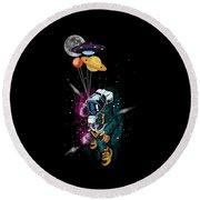 Astronaut Ufo Balloon Outer Space Shuttle  Round Beach Towel