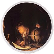 Astronomer By Candlelight Round Beach Towel