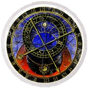 Astronomical Clock In Grunge Style Round Beach Towel