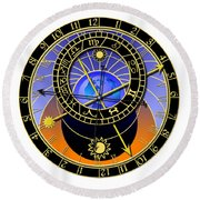 Astronomical Clock Round Beach Towel