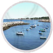 At Anchor In Rockport Ma Harbor Round Beach Towel
