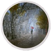 At Autumn Park Round Beach Towel
