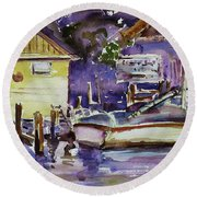 At Boat House 3 Round Beach Towel