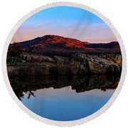 At First Light Round Beach Towel