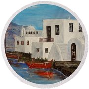 At Home In Greece Round Beach Towel