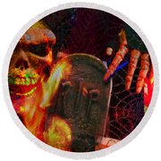 At Night In The Graveyard Round Beach Towel