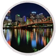 At Rivers Edge In Pittsburgh Round Beach Towel