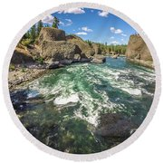 At Riverside Bowl And Pitcher State Park In Spokane Washington Round Beach Towel