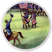 At Saratoga The Colonists Won Victory Round Beach Towel