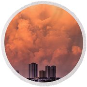 At Sunset In West Palm Beach Round Beach Towel