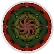 At The Bottom Of The Sea Coral Round Beach Towel