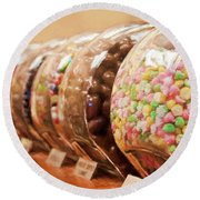 At The Candy Store Round Beach Towel